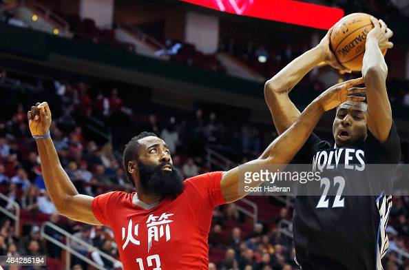 James Harden of the Houston Rockets defends against Andrew Wiggins of the Minnesota Timberwolves during their game at the Toyota Center on February...