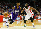 James Harden of the Houston Rockets defends against Ben McLemore of the Sacramento Kings during their game at the Toyota Center on November 26 2014...