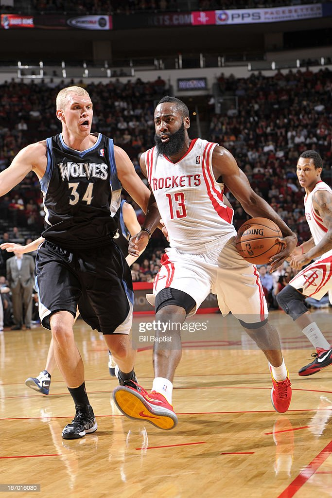 James Harden of the Houston Rockets dribbles the ball against Greg Stiemsma of the Minnesota Timberwolves on March 15 2013 at the Toyota Center in...