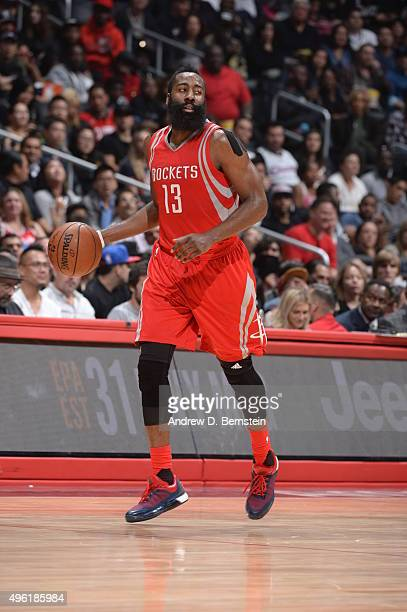James Harden of the Houston Rockets dribbles the ball against the Los Angeles Clippers on November 7 2015 at STAPLES Center in Los Angeles California...