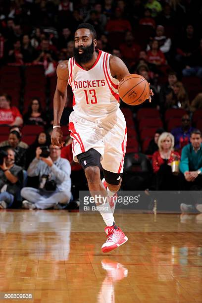 James Harden of the Houston Rockets dribbles the ball against the Milwaukee Bucks on January 22 2016 at the Toyota Center in Houston Texas NOTE TO...