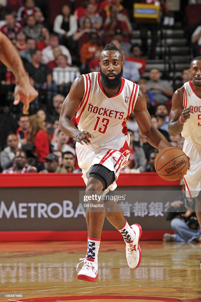James Harden #13 of the Houston Rockets dribbles the ball upcourt against the Miami Heat on November 12, 2012 at the Toyota Center in Houston, Texas.