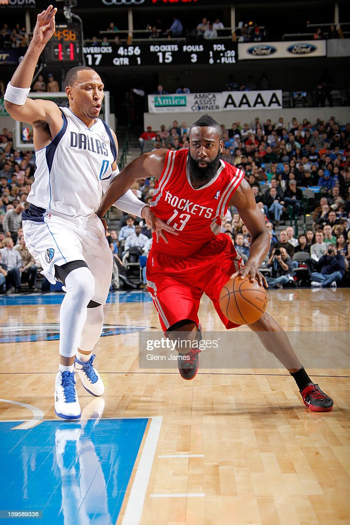 James Harden #13 of the Houston Rockets drives against Shawn Marion #0 of the Dallas Mavericks on January 16, 2013 at the American Airlines Center in Dallas, Texas.