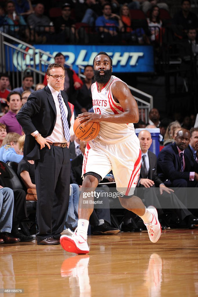 James Harden #13 of the Houston Rockets drives against the Oklahoma City Thunder on January 16, 2014 at the Toyota Center in Houston, Texas.