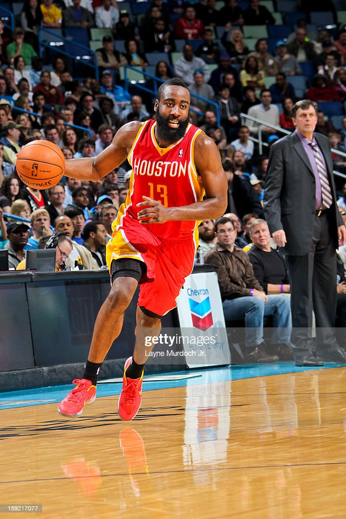 <a gi-track='captionPersonalityLinkClicked' href=/galleries/search?phrase=James+Harden&family=editorial&specificpeople=4215938 ng-click='$event.stopPropagation()'>James Harden</a> #13 of the Houston Rockets drives to the basket against the New Orleans Hornets on January 9, 2013 at the New Orleans Arena in New Orleans, Louisiana.
