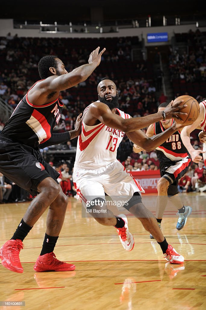 <a gi-track='captionPersonalityLinkClicked' href=/galleries/search?phrase=James+Harden&family=editorial&specificpeople=4215938 ng-click='$event.stopPropagation()'>James Harden</a> #13 of the Houston Rockets drives to the basket against the Portland Trail Blazers on February 8, 2013 at the Toyota Center in Houston, Texas.