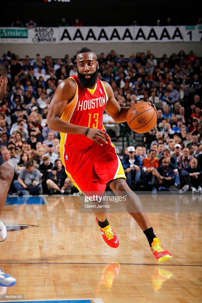 James Harden #13 of the Houston Rockets drives to the basket against the Dallas Mavericks on March 6, 2013 at the American Airlines Center in Dallas, Texas.