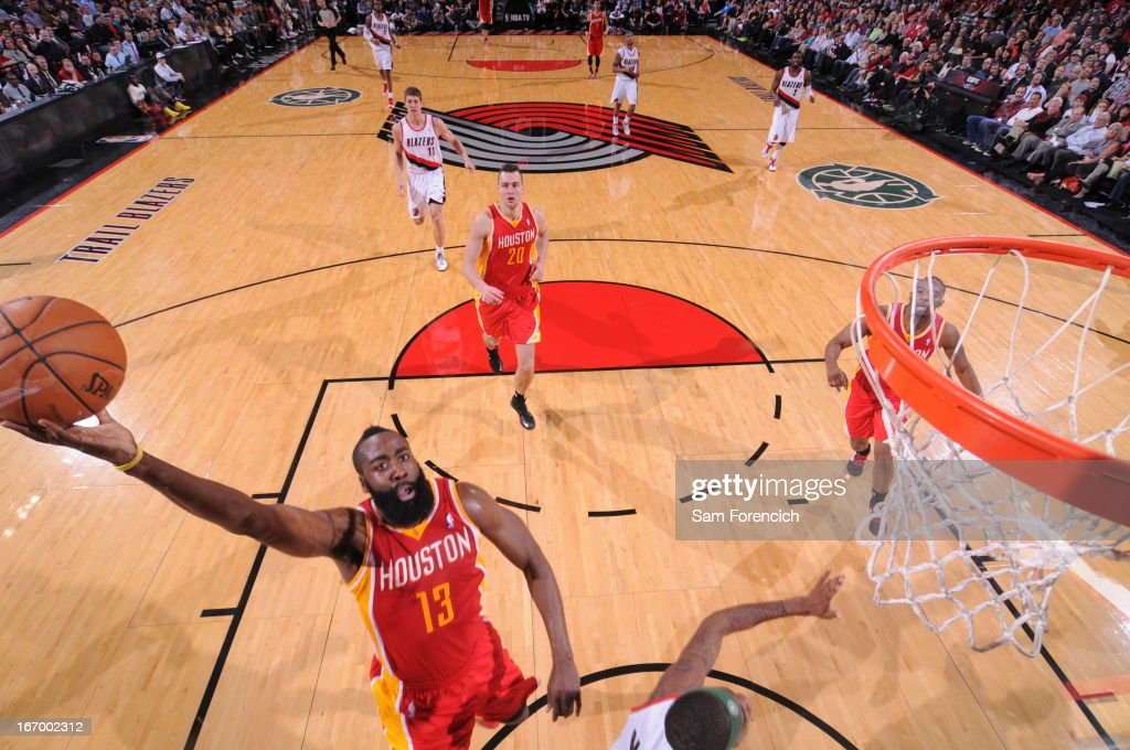 <a gi-track='captionPersonalityLinkClicked' href=/galleries/search?phrase=James+Harden&family=editorial&specificpeople=4215938 ng-click='$event.stopPropagation()'>James Harden</a> #13 of the Houston Rockets drives to the basket against the Portland Trail Blazers on April 5, 2013 at the Rose Garden Arena in Portland, Oregon.