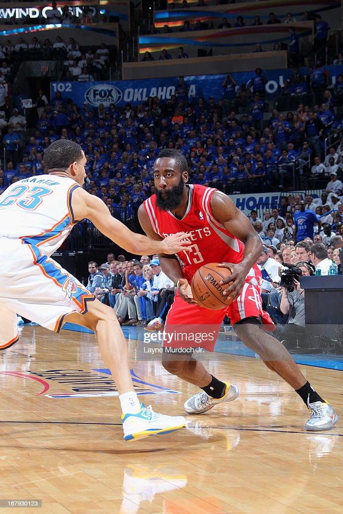 <a gi-track='captionPersonalityLinkClicked' href=/galleries/search?phrase=James+Harden&family=editorial&specificpeople=4215938 ng-click='$event.stopPropagation()'>James Harden</a> #13 of the Houston Rockets drives to the basket against the Oklahoma City Thunder in Game Two of the Western Conference Quarter Finals during the 2013 NBA playoffs on April 24, 2013 at the Chesapeake Energy Arena in Oklahoma City, Oklahoma.