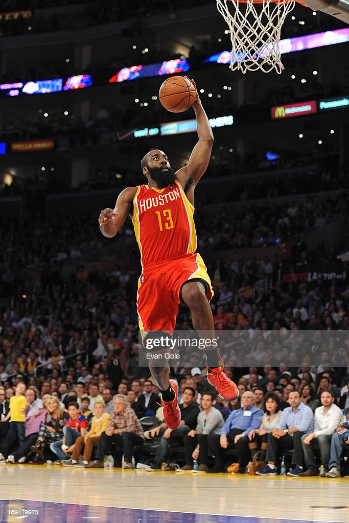 <a gi-track='captionPersonalityLinkClicked' href=/galleries/search?phrase=James+Harden&family=editorial&specificpeople=4215938 ng-click='$event.stopPropagation()'>James Harden</a> #13 of the Houston Rockets drives to the basket against the Los Angeles Lakers at Staples Center on April 17, 2013 in Los Angeles, California.