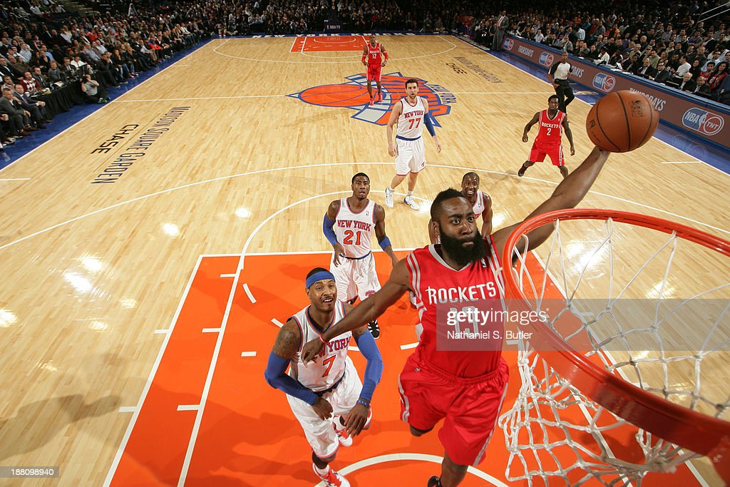 <a gi-track='captionPersonalityLinkClicked' href=/galleries/search?phrase=James+Harden&family=editorial&specificpeople=4215938 ng-click='$event.stopPropagation()'>James Harden</a> #13 of the Houston Rockets drives to the basket against the New York Knicks during a game at Madison Square Garden in New York City on November 14, 2013.