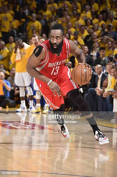 James Harden of the Houston Rockets drives to the basket against the Golden State Warriors in Game Five of the Western Conference Finals during the...