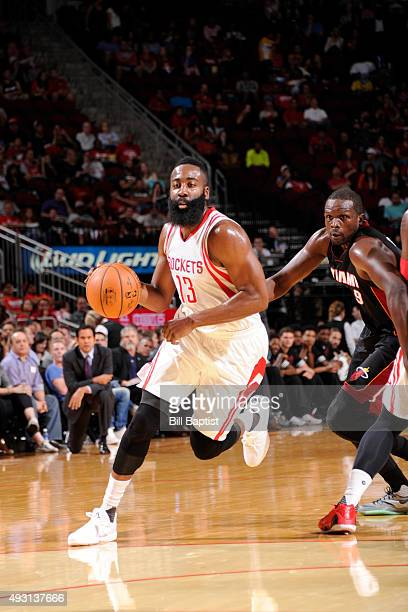 James Harden of the Houston Rockets drives to the basket against the Miami Heat on October 17 2015 at the Toyota Center in Houston Texas NOTE TO USER...