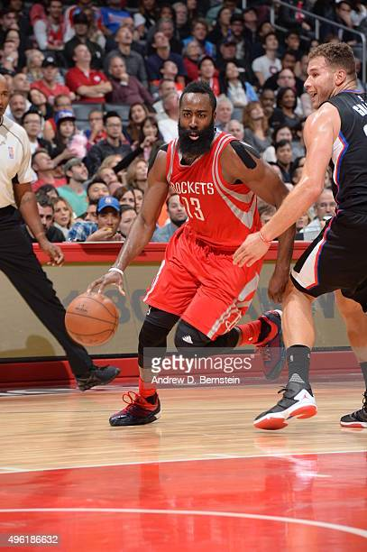 James Harden of the Houston Rockets drives to the basket against the Los Angeles Clippers on November 7 2015 at STAPLES Center in Los Angeles...