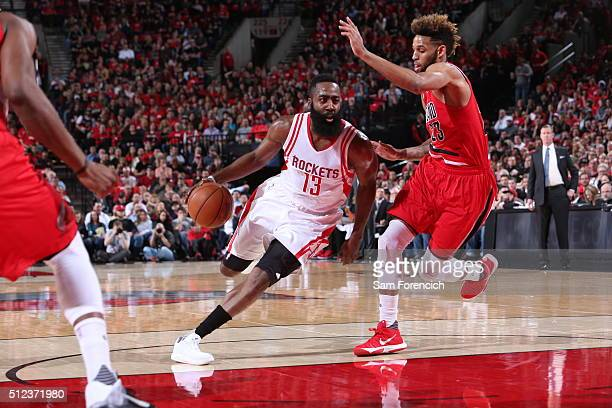James Harden of the Houston Rockets drives to the basket against the Portland Trail Blazers during the game on February 25 2016 at Moda Center in...