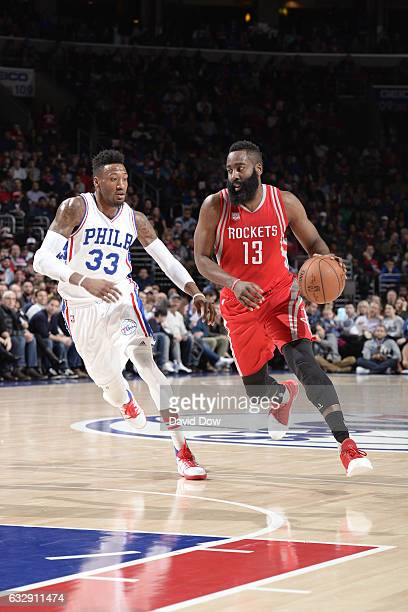 James Harden of the Houston Rockets drives to the basket against the Philadelphia 76ers at Wells Fargo Center on January 27 2017 in Philadelphia...