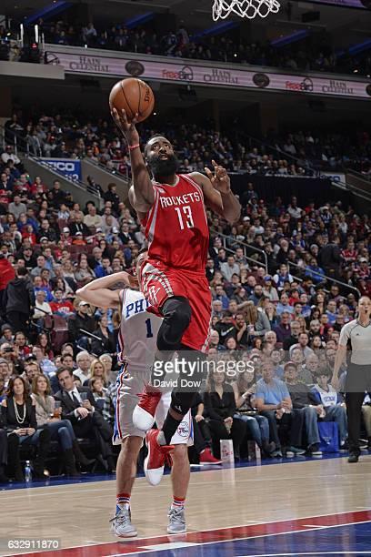 James Harden of the Houston Rockets drives to the basket against the Philadelphia 76ers at Wells Fargo Center on January 27 2017 in Philadelphia...