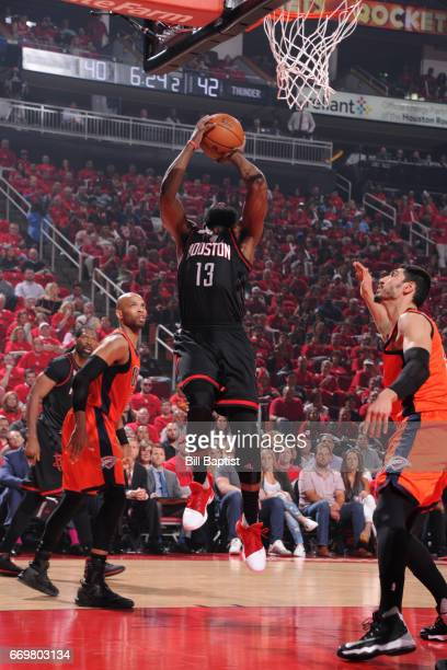 James Harden of the Houston Rockets drives to the basket and shoots the ball during the Western Conference Quarterfinals game against the Oklahoma...