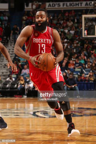 James Harden of the Houston Rockets drives to the basket during a game against the New Orleans Pelicans on March 17 2017 at Smoothie King Center in...