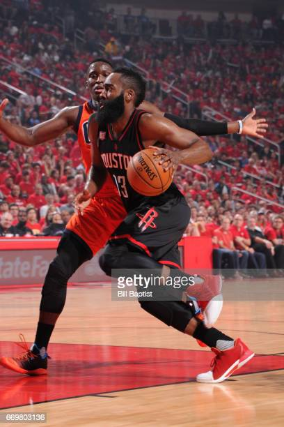 James Harden of the Houston Rockets drives to the basket during the Western Conference Quarterfinals game against the Oklahoma City Thunder during...