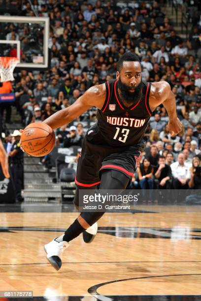 James Harden of the Houston Rockets drives to the basket during the game against the San Antonio Spurs during Game Five of the Western Conference...