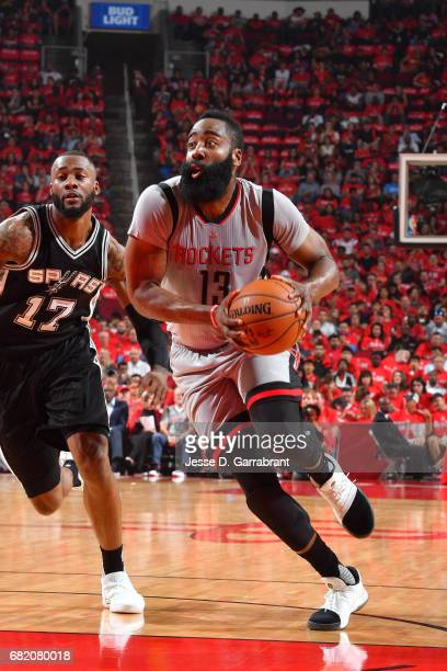 James Harden of the Houston Rockets drives to the basket during the game against the San Antonio Spurs during Game Six of the Western Conference...