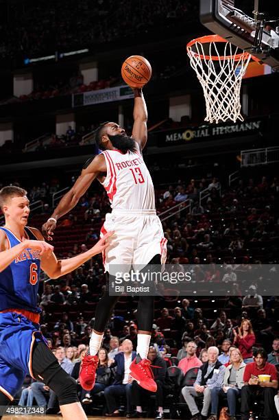 James Harden of the Houston Rockets dunks against the New York Knicks on November 21 2015 at the Toyota Center in Houston Texas NOTE TO USER User...