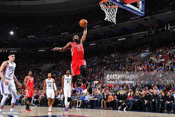 James Harden of the Houston Rockets dunks the ball against the Philadelphia 76ers at Wells Fargo Center on January 27 2017 in Philadelphia...