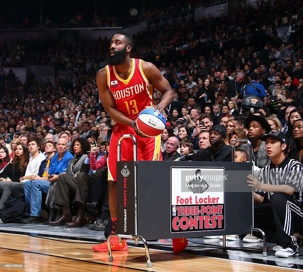 James Harden of the Houston Rockets during the Foot Locker Three Point Contest on State Farm AllStar Saturday Night as part of the 2015 NBA AllStar...