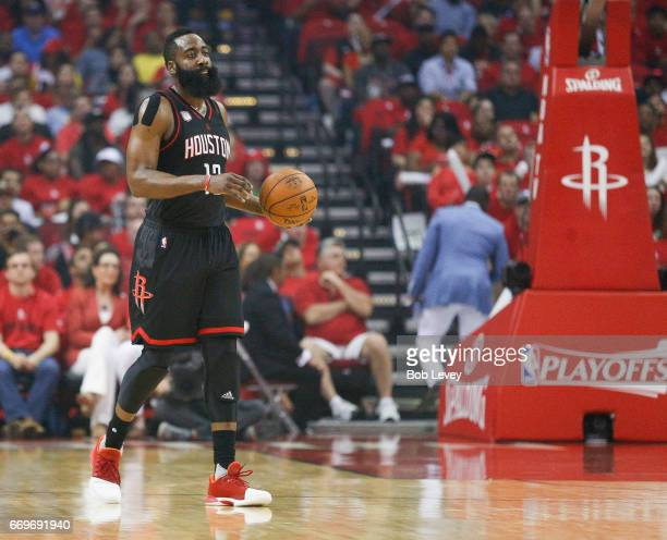 James Harden of the Houston Rockets during the second quarter against the Oklahoma City Thunder during Game One of the first round of the Western...