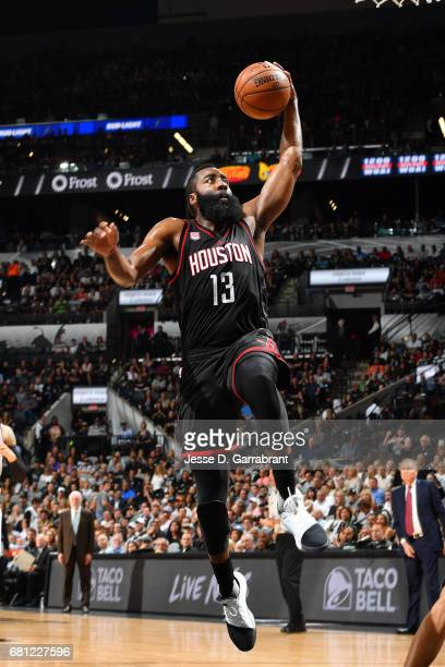 James Harden of the Houston Rockets goes for a dunk during the game against the San Antonio Spurs during Game Five of the Western Conference...