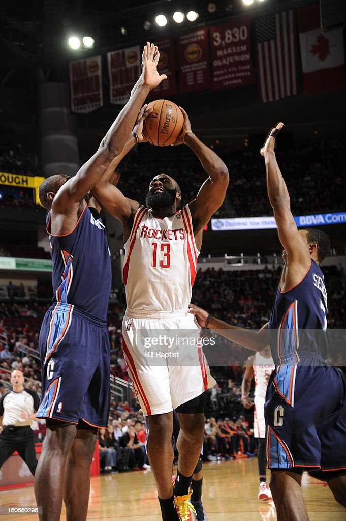 James Harden #13 of the Houston Rockets goes to the basket against the Charlotte Bobcats on February 2, 2013 at the Toyota Center in Houston, Texas.