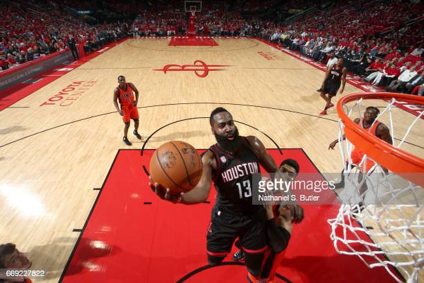 James Harden of the Houston Rockets goes to the basket against the Oklahoma City Thunder during the Western Conference Quarterfinals of the 2017 NBA...