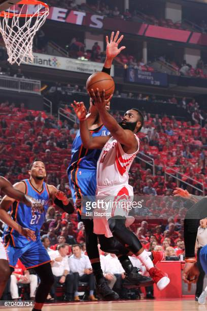 James Harden of the Houston Rockets goes to the basket against the Oklahoma City Thunder during Game Two of the Western Conference Quarterfinals of...