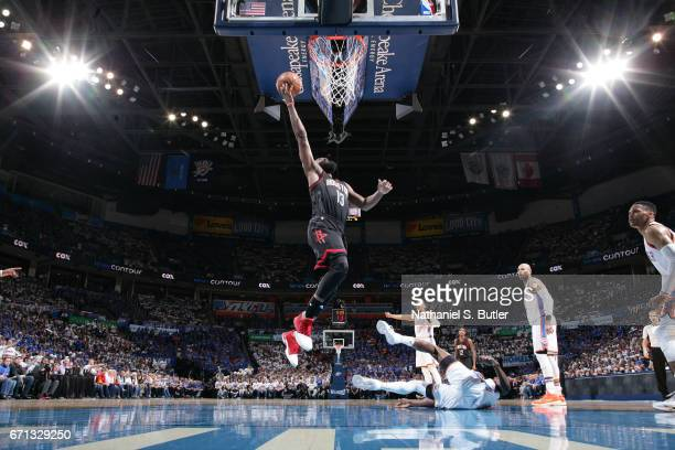 James Harden of the Houston Rockets goes to the basket against the Oklahoma City Thunder during Game Three of the Western Conference Quarterfinals of...