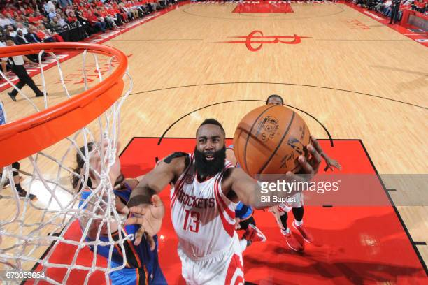 James Harden of the Houston Rockets goes to the basket against the Oklahoma City Thunder in Game Five of the Western Conference Quarterfinals of the...