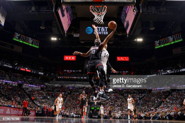 James Harden of the Houston Rockets goes to the basket against the San Antonio Spurs during Game One of the Western Conference Semifinals of the 2017...