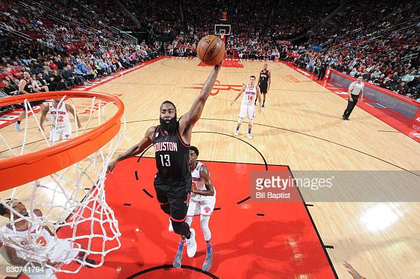 James Harden of the Houston Rockets goes up for a dunk during a game against the New York Knicks on December 31 2016 at the Toyota Center in Houston...