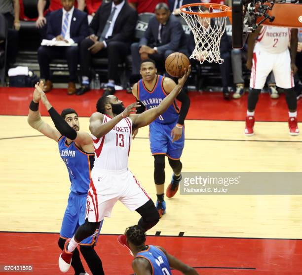 James Harden of the Houston Rockets goes up for a lay up against the Oklahoma City Thunder during Game Two of the Western Conference Quarterfinals of...