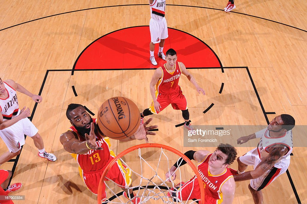 <a gi-track='captionPersonalityLinkClicked' href=/galleries/search?phrase=James+Harden&family=editorial&specificpeople=4215938 ng-click='$event.stopPropagation()'>James Harden</a> #13 of the Houston Rockets goes up for a rebound against the Portland Trail Blazers on April 5, 2013 at the Rose Garden Arena in Portland, Oregon.