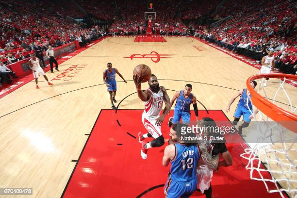 James Harden of the Houston Rockets goes up for a shot against the Oklahoma City Thunder during Game Two of the Western Conference Quarterfinals of...