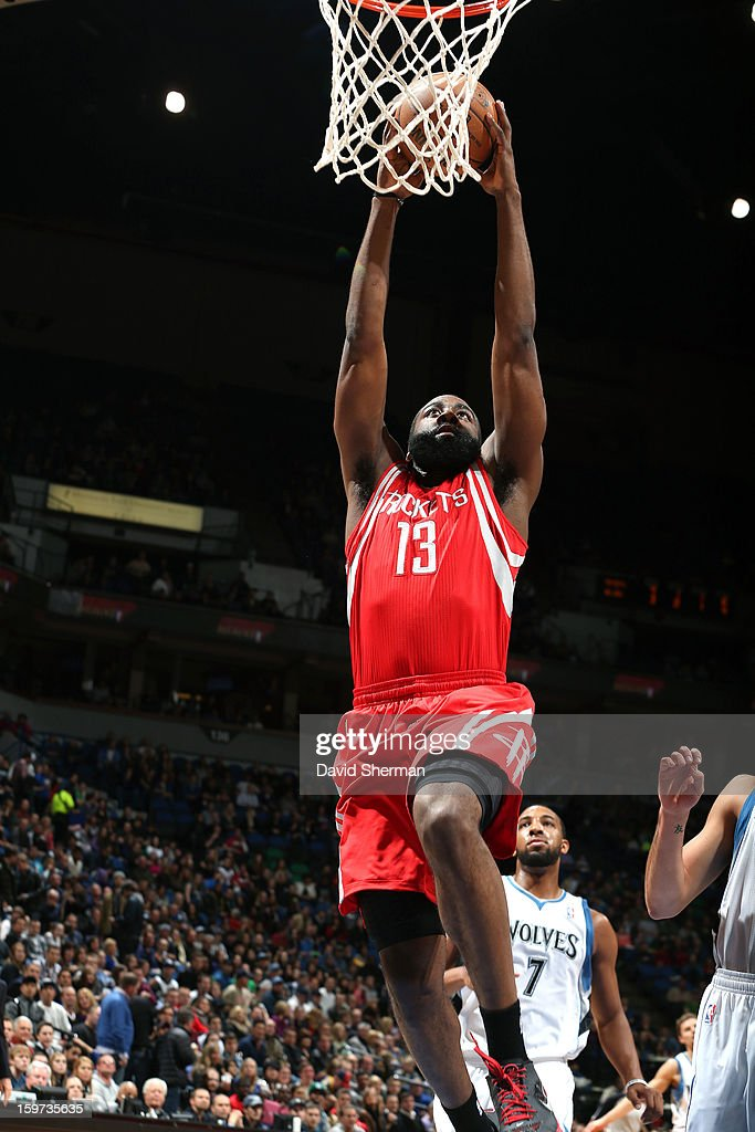 James Harden #13 of the Houston Rockets goes up for the dunk against the Minnesota Timberwolves during the game on January 19, 2013 at Target Center in Minneapolis, Minnesota.