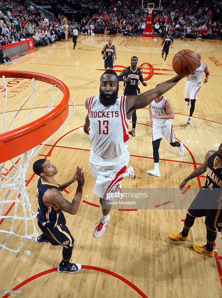 <a gi-track='captionPersonalityLinkClicked' href=/galleries/search?phrase=James+Harden&family=editorial&specificpeople=4215938 ng-click='$event.stopPropagation()'>James Harden</a> #13 of the Houston Rockets goes up for the dunk against the Indiana Pacers on March 7, 2014 at the Toyota Center in Houston, Texas.