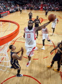 James Harden of the Houston Rockets goes up for the dunk against the Indiana Pacers on March 7 2014 at the Toyota Center in Houston Texas NOTE TO...