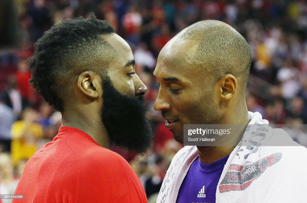 James Harden of the Houston Rockets greets Kobe Bryant of the Los Angeles Lakers on the court after the Rockets defeated the Lakers 12697 in their...