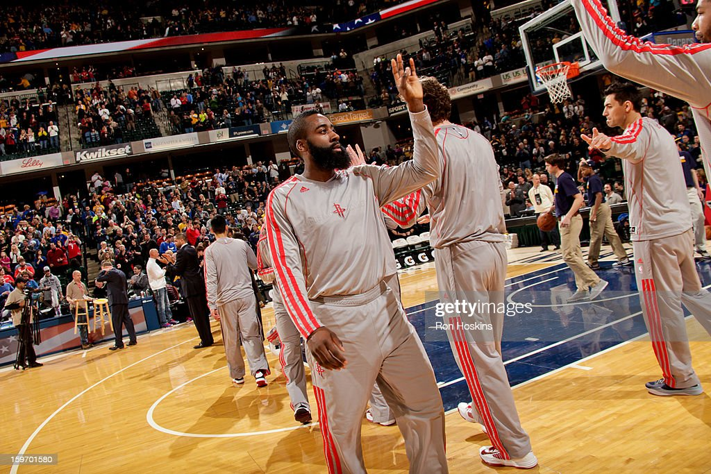 James Harden #13 of the Houston Rockets greets teammates before playing against the Indiana Pacers on January 18, 2013 at Bankers Life Fieldhouse in Indianapolis, Indiana.