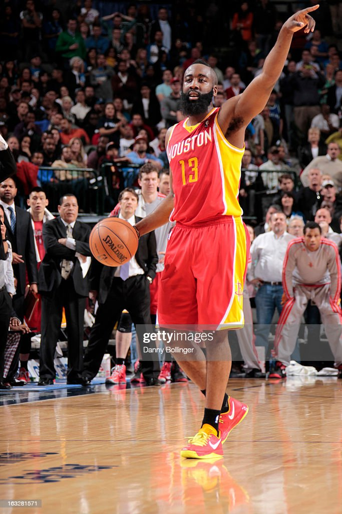 James Harden #13 of the Houston Rockets handles the ball against the Dallas Mavericks on March 6, 2013 at the American Airlines Center in Dallas, Texas.
