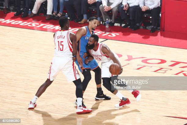 James Harden of the Houston Rockets handles the ball against the Oklahoma City Thunder during Game Two of the Western Conference Quarterfinals of the...
