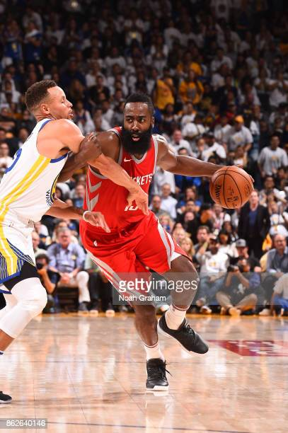 James Harden of the Houston Rockets handles the ball against the Golden State Warriors on October 17 2017 at ORACLE Arena in Oakland California NOTE...