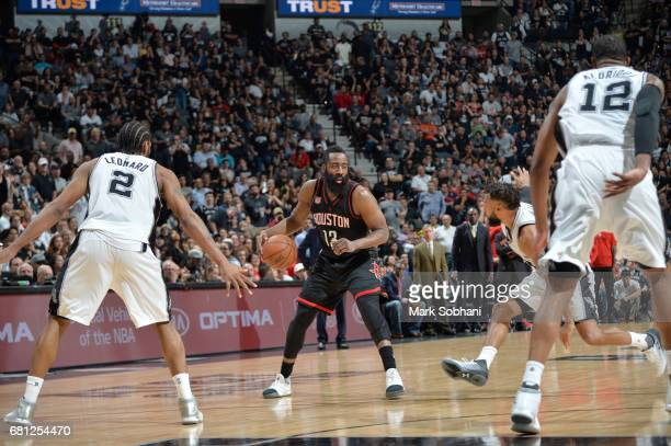 James Harden of the Houston Rockets handles the ball against the San Antonio Spurs in Game Five of the Western Conference Semifinals on May 9 2017 at...